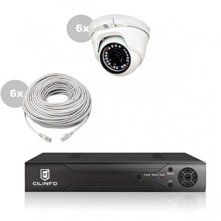 Kit Vidéo Surveillance IP 6x Caméra POE Dôme IR 20M Capteur SONY UHD 4K + Enregistreur NVR 8 canaux POE H265+ UHD 4K