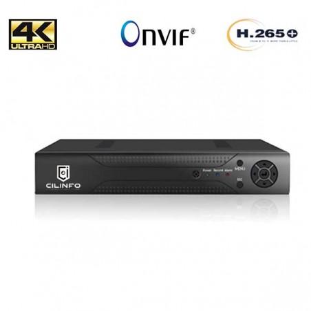 ENREGISTREUR NUMERIQUE NVR 4 CANAUX IP H265+ 4K UHD POE ONVIF