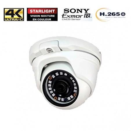 Kit Vidéo Surveillance IP 3x Caméra POE Dôme IR 20M Capteur SONY UHD 4K + Enregistreur NVR 4 canaux POE H265+ UHD 4K